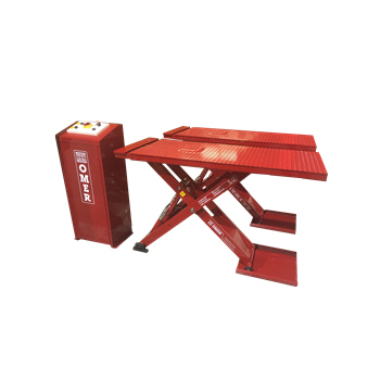 "6,600 lb. (3.0t)  Capacity Mini Mid Rise Pad Style  Body Contact Scissor lift Raised Height 42"" with adapters"